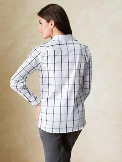 Extraglatt-Bluse Black & White Karo Detail 4