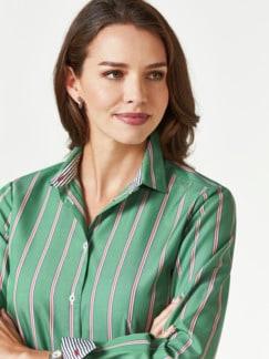 Extraglatt-Hemdbluse-Everyday Streifen Grün Detail 4