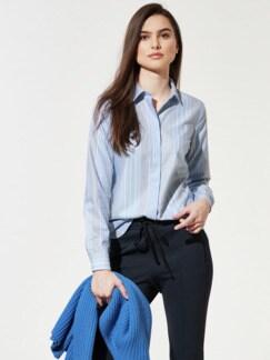 Premium-Extraglatt-Hemdbluse Streifen Skyblu Detail 1