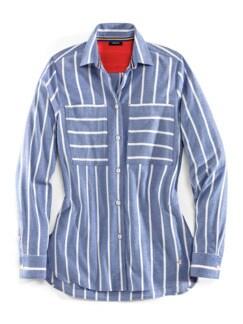 Stretchflanell Hemdbluse-Bluse
