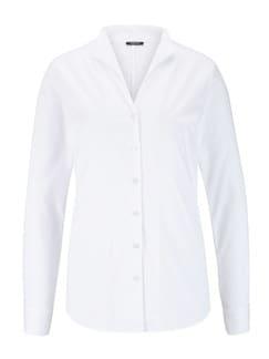 Extraglatt-Bluse Kelchkragen Weiß Detail 3
