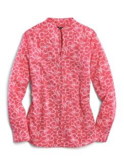 Extraglatt-Bluse Kelchkragen Blume Teerose Detail 2