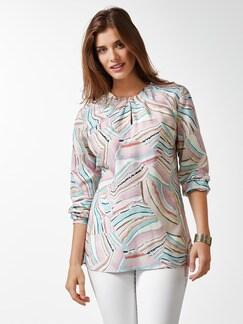 Shirtbluse Falten-Drape Rose/Blau Detail 1