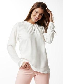 Shirtbluse Falten-Drape Weiß Detail 1