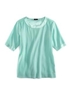 Seiden-Shirtbluse Edel-Basic Aqua Detail 2