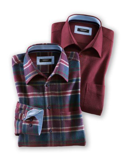 Geschenkset Extraglatt-Flanellhemd