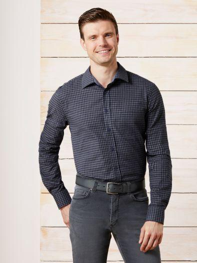 Baumwoll-Leinenhemd Vichykaro
