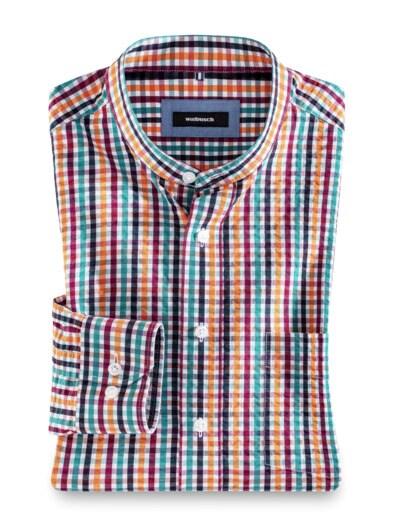 Seersucker-Hemd Stehkragen