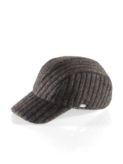 Strick-Baseballcap Tweedoptik