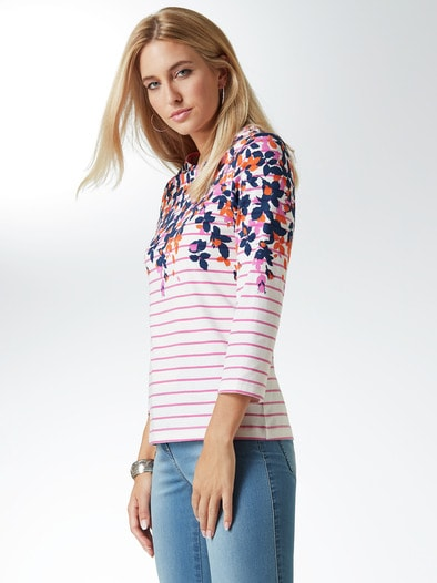 Streifenshirt Blumendruck