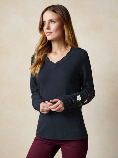 V-Neck Pullover Blütenstickerei