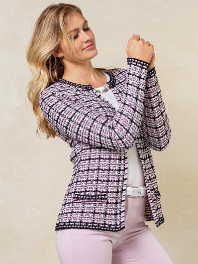 Strickjacke Baumwoll Tweed