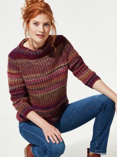 Grobstrick-Pullover Farbverlauf