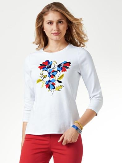 Baumwollshirt Blumenmuster