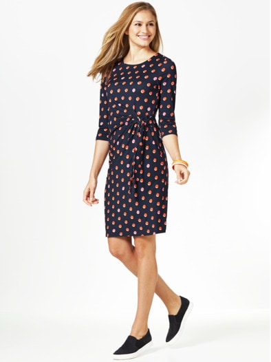 Wickeloptik-Jerseykleid Dots
