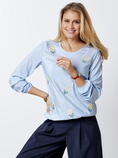 Shirtbluse Blütenstickerei