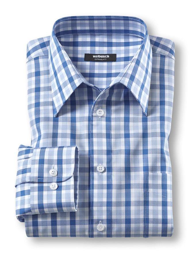extraglatt hemd walbusch kragen blau walbusch