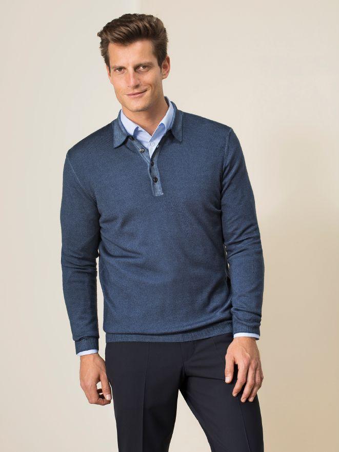Polo-Pullover Merino Extrafein