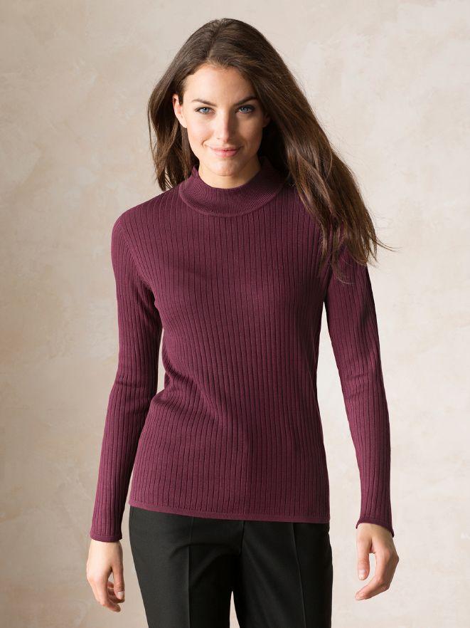 Seiden-Stehbund-Pullover Langarm