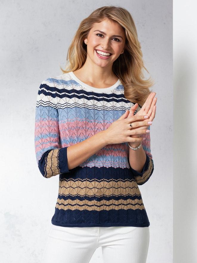 Pullover Ajourmuster Streifen