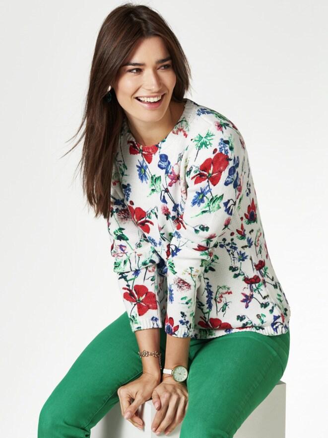 Baumwoll-Pullover Gartenblumen