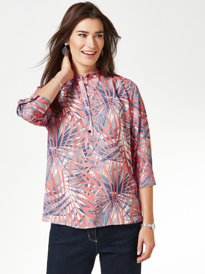 Viskose-Shirtbluse Künstlerdruck