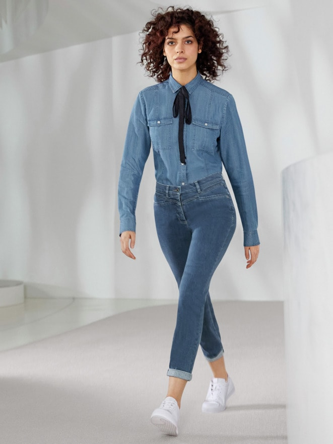 Outfit Lyocell-Jeansbluse Extraleicht