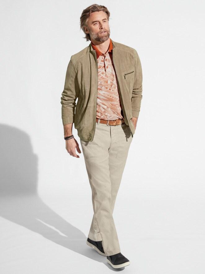 Outfit Veloursleder-Artwork Blouson