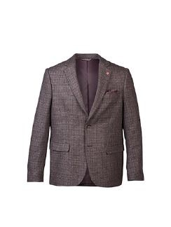 Wool-Blend Sakko Tollegno Bordeaux/Grau Detail 5