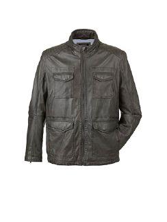 9-Taschen Lederjacke Felsgrau Detail 5