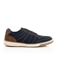 City-Sneaker Velours Blau Detail 5