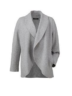 Woll Jersey Cardigan Silbergrau Detail 6