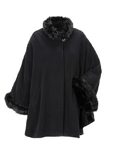 Exquisit Cashmere Cape  Schwarz Detail 6
