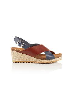Keil-Bast-Sandale Marine/Kastanie Detail 3