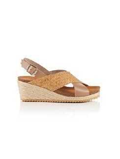 Keil-Bast-Sandale Taupe/Gelb Detail 3